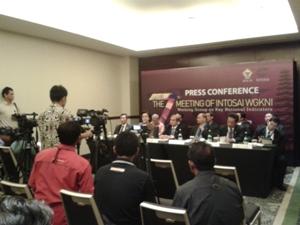 Ketua BPK RI (Hadi Poernomo) saat memberikan keterangan pers